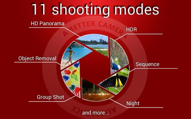 A Better Camera incluye varios modos de captura que pueden ayudar a mejorar tus tomas.