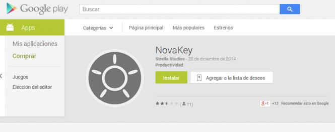 NovaKey se encuentra disponible Gratis desde la tienda Google Play.