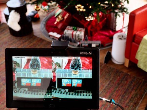 Imágen de la izquierda con zoom digital tradicional, imágen de la derecha usando tecnología Corephotonics
