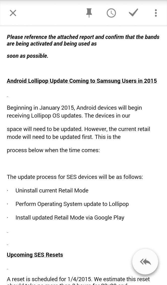Supuesta captura del correo de Samsung sobre la actualización de sus dispositivos a Lollipop.