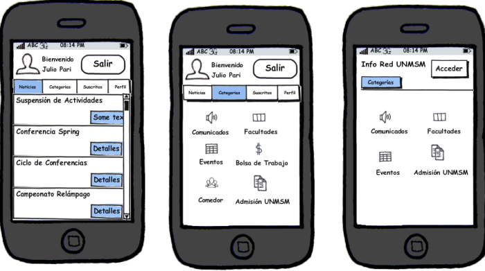 Interfaces creadas con Balsamiq Mockups