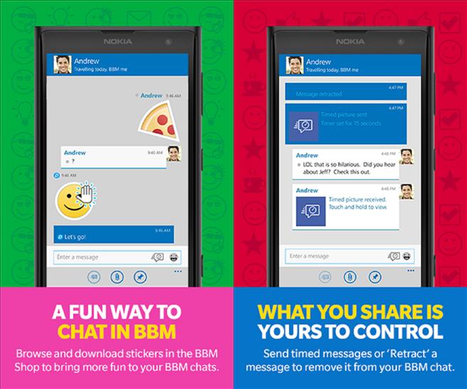 Nuevas características de BBM 2.0 en Windows Phone: Stickers y mensajes temporales
