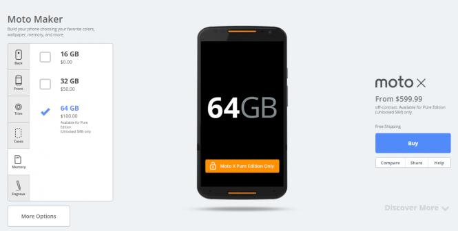 Moto X en Moto Maker con opción de 64 GB