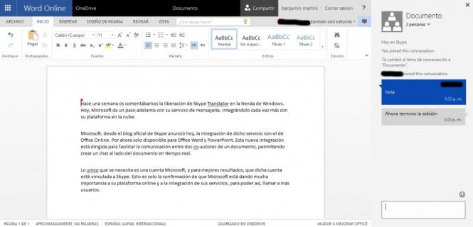 Funcionamiento de Skype en Word Online