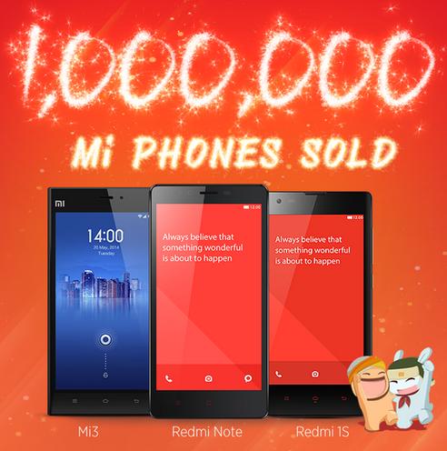 Xiaomi realizo má de 1 millón de ventas en el mercado indio