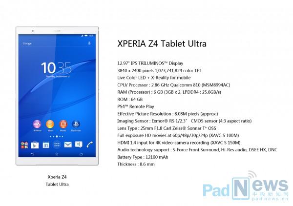 Posibles especificaciones de la Xperia Z4 Tablet Ultra