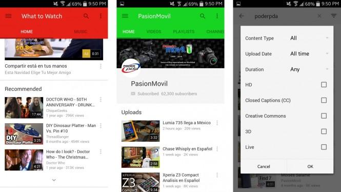 La nueva versión de YouTube nos trae Material Desing y una busqueda mejorada