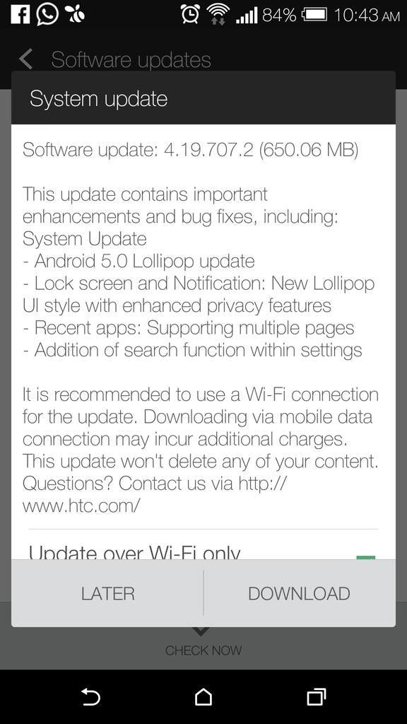 Actualización OTA de Android 5.0 para el HTC One M8