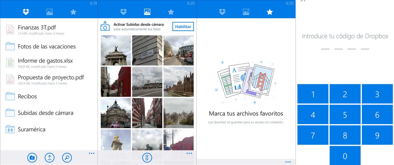 Dropbox para Windows Phone