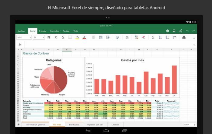 Excel para tablets Android