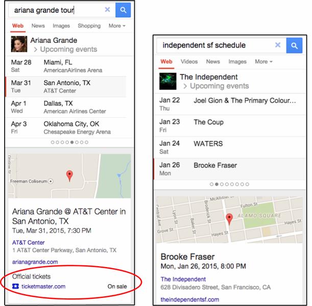Google podrá sugerirnos la compra de boletos de eventos musicales o de ciudades que busquemos.