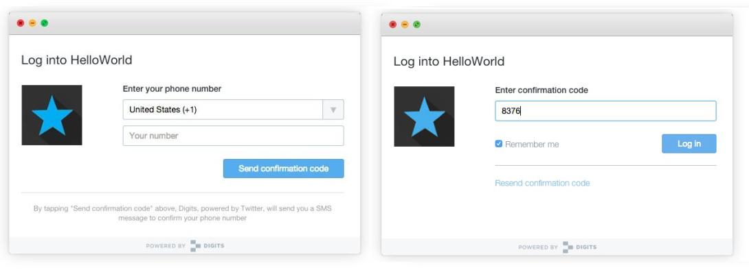 HelloWorld Digits identificacion de Twitter