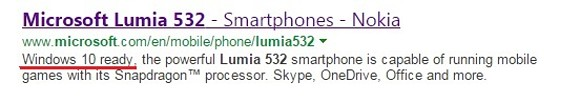 Lumia 532 Windows 10 ready google