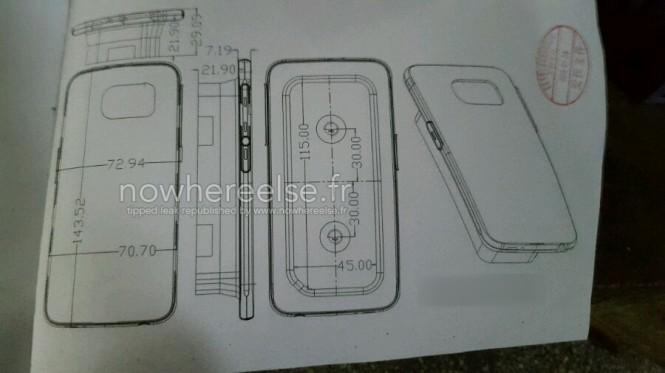 Esquema de una funda para el Samsung Galaxy S6 con dimensiones