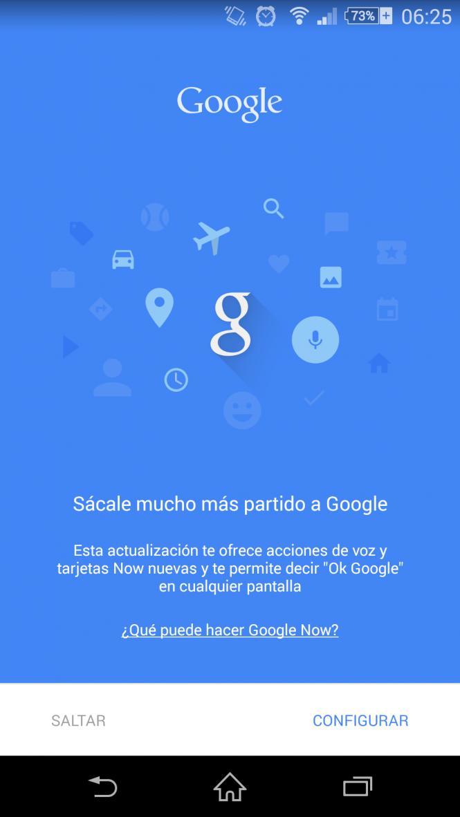 La nueva pantalla para empezar a configurar la Aplicación Google