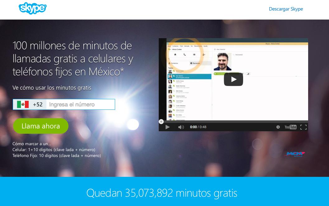 Skype llamadas gratis Mexico