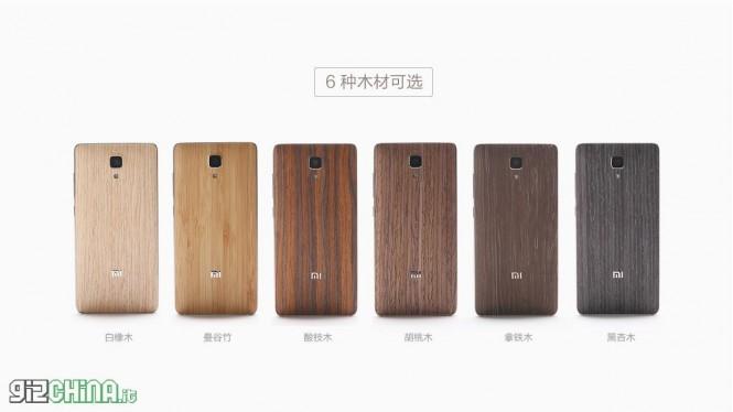 Diferentes cubiertas de madera del Xiaomi Mi4