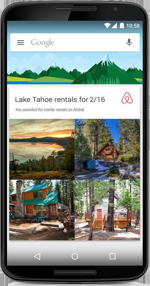 Ejemplo de la aplicación Airbnb en Google Now
