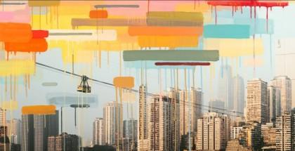 Detalle del mural que cubre la tienda Apple de Chongqing