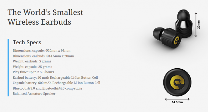 Las especificaciones de los Earin son atrayentes para brindar una ingeniosa solucion de audio.