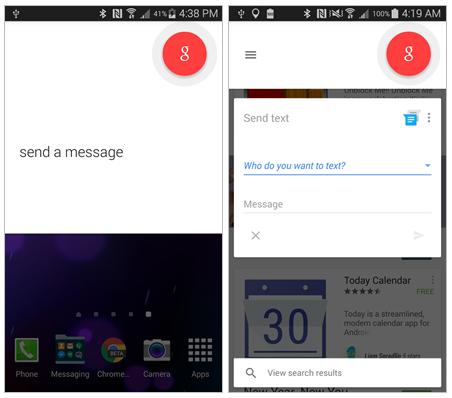Google Now activado desde la pantalla de inicio y Google Now funcionando desde Google Play Store