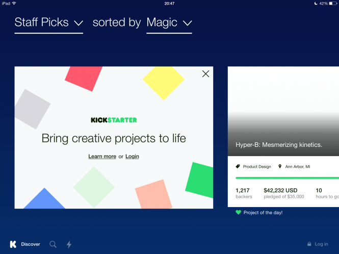 Diseño de la nueva app de Kickstarter compatible con el iPad
