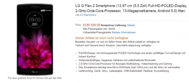 LG G Flex 2 en preventa en el sitio alemán de Amazon