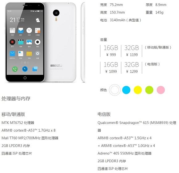 Meizu m1 note aparece con Snapdragon 615