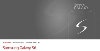 Página holandesa de Vodafone mostrando información sobre el Galaxy S6