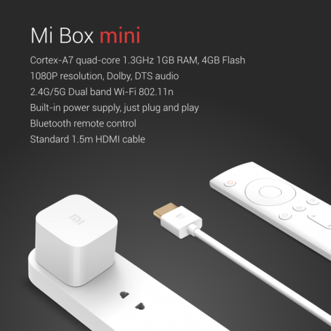 Xiaomi Mi Box Mini con su control Bluetooth y cable HDMI