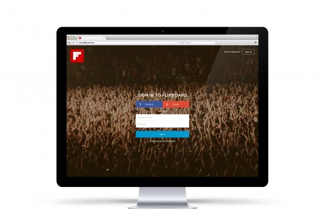 Página de registro o acceso a Flipboard