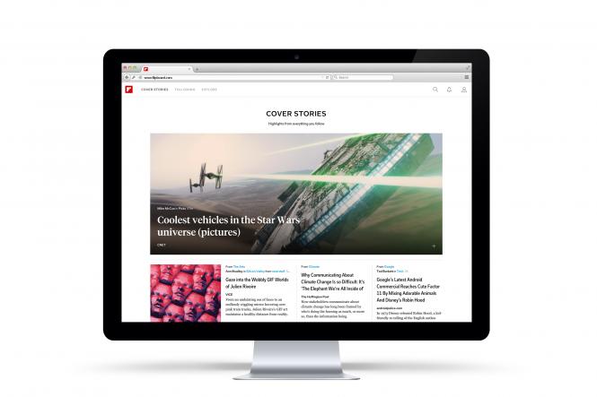 Ejemplo de artículos de portada desde la página web de Flipboard