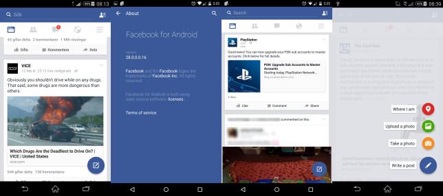 Facebook para Android con Material Design