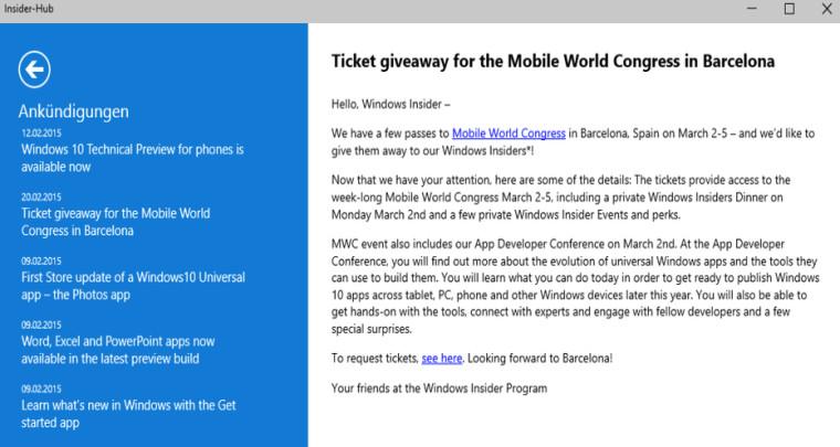 Microsoft con Windows Insider te invita al MWC 2015