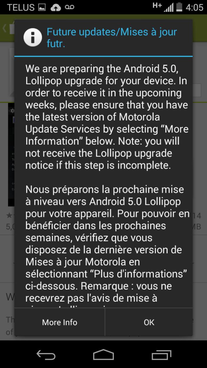 Moto G recibira lollipop