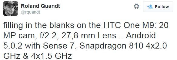 Detalles del CPU y de la cámara del HTC One M9