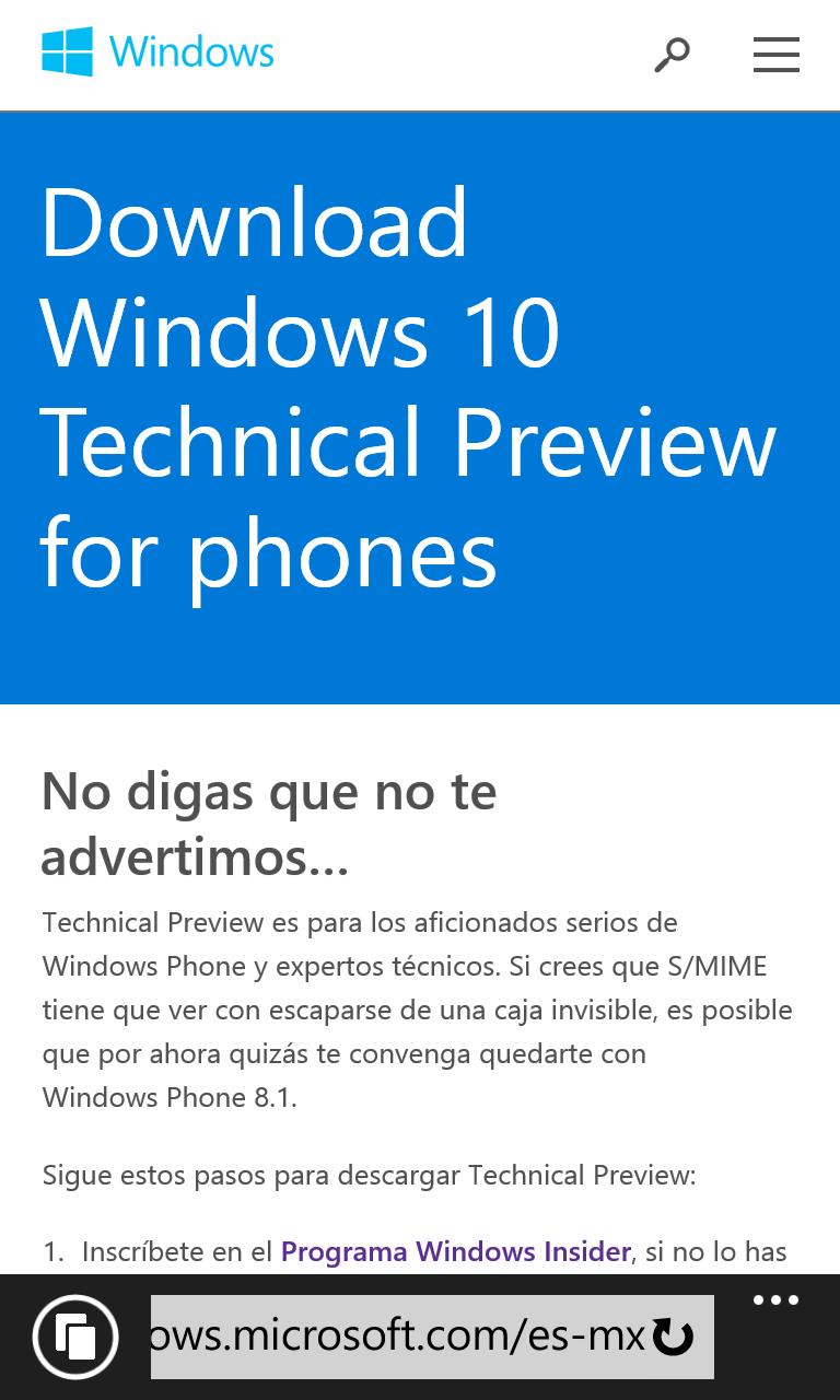 Windows 10 Technical Preview advertencia Mexico
