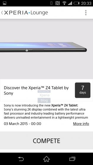 Captura de pantalla de Xperia Lounge mostrando la Xperia Z4 Tablet