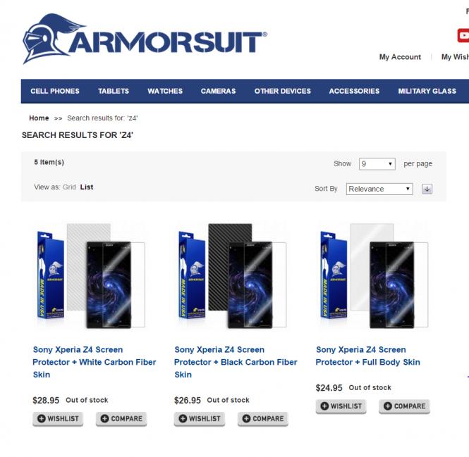 Página de ArmorSuit mostrando accesorios para el Xperia Z4