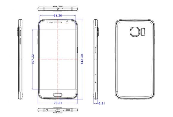 Esquema que muestra las medidas del Samsung Galaxy S6