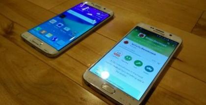 Samsung Galaxy S6 Edge y Galaxy S6 con la pantalla encendida