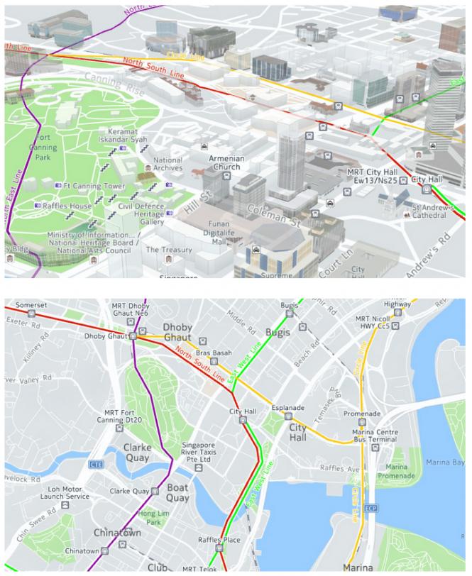 Mapa de Singapur con líneas de transporte mejoradas respecto a la geografía