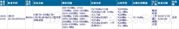 Certificación de un nuevo modelo del Meizu m1