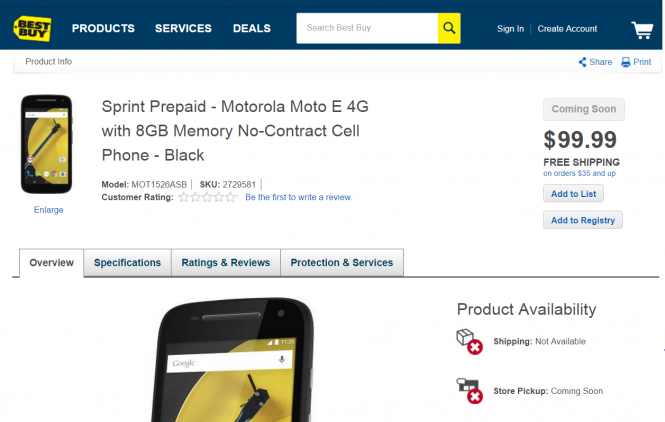 Moto E segunda generación en Best Buy