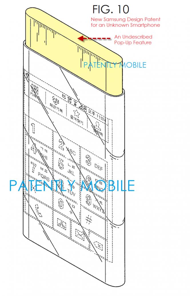 Imagen que muestra la parte sobresaliente del dispositivo y la pantalla curvada