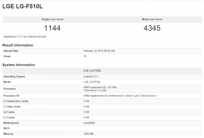 Prueba Geekbench del procesador Qualcomm Snapdragon 810