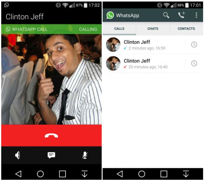 Interfaz de llamadas en WhatsApp