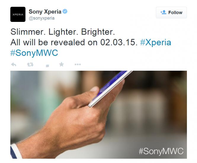 Mensaje de Sony® confirmando que la Xperia Z4 Tablet será anunciada el 2 de marzo