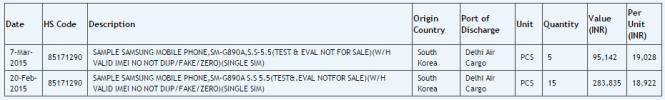 Documentos de importación del posible Galaxy S6 Active