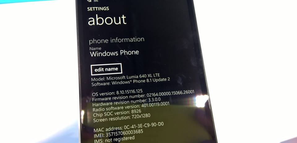 Lumia 640 con Windows Phone 8.1 Update 2